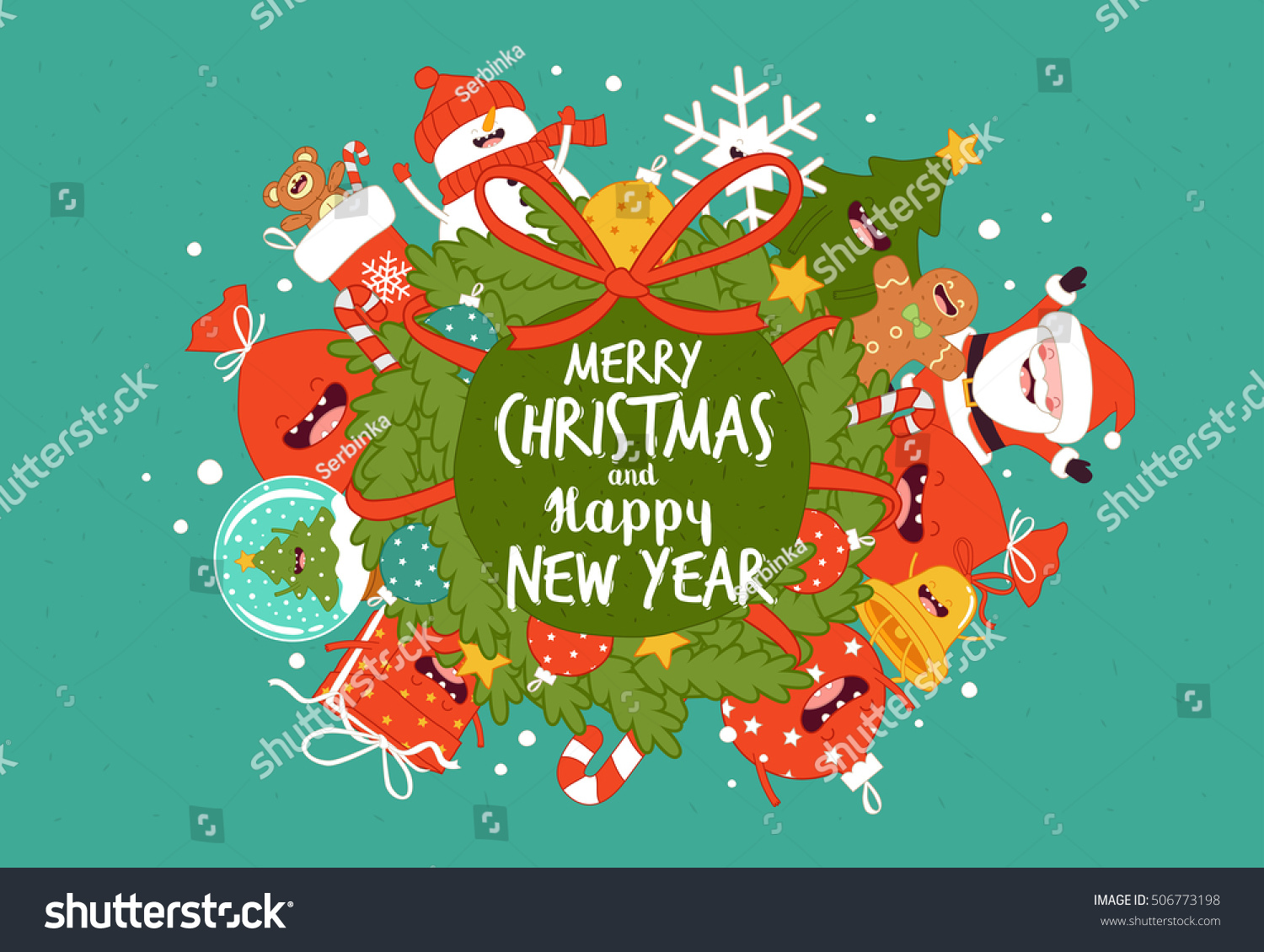 greeting card happy new year and merry christmas funny personages wishes you a happy holidays
