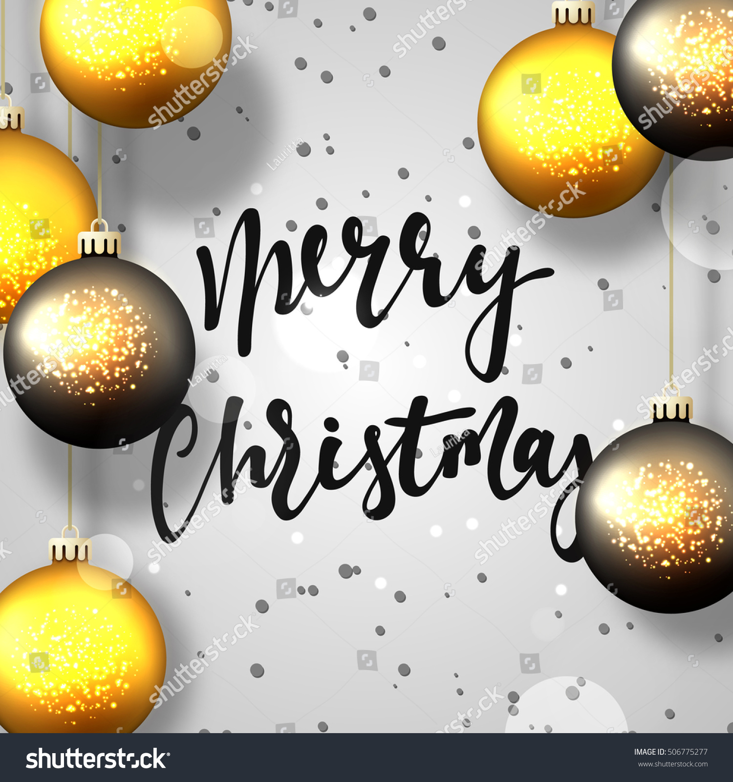 merry christmas and happy new year greeting card gray background with christmas balls and snowflakes