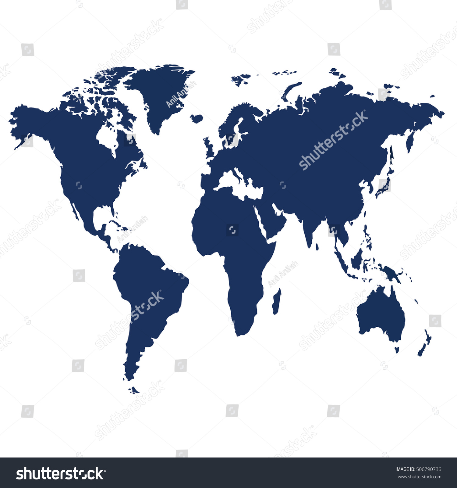 Blank blue similar world map isolated stock vector 506790736 blank blue similar world map isolated on white background best popular world map vector template gumiabroncs Image collections