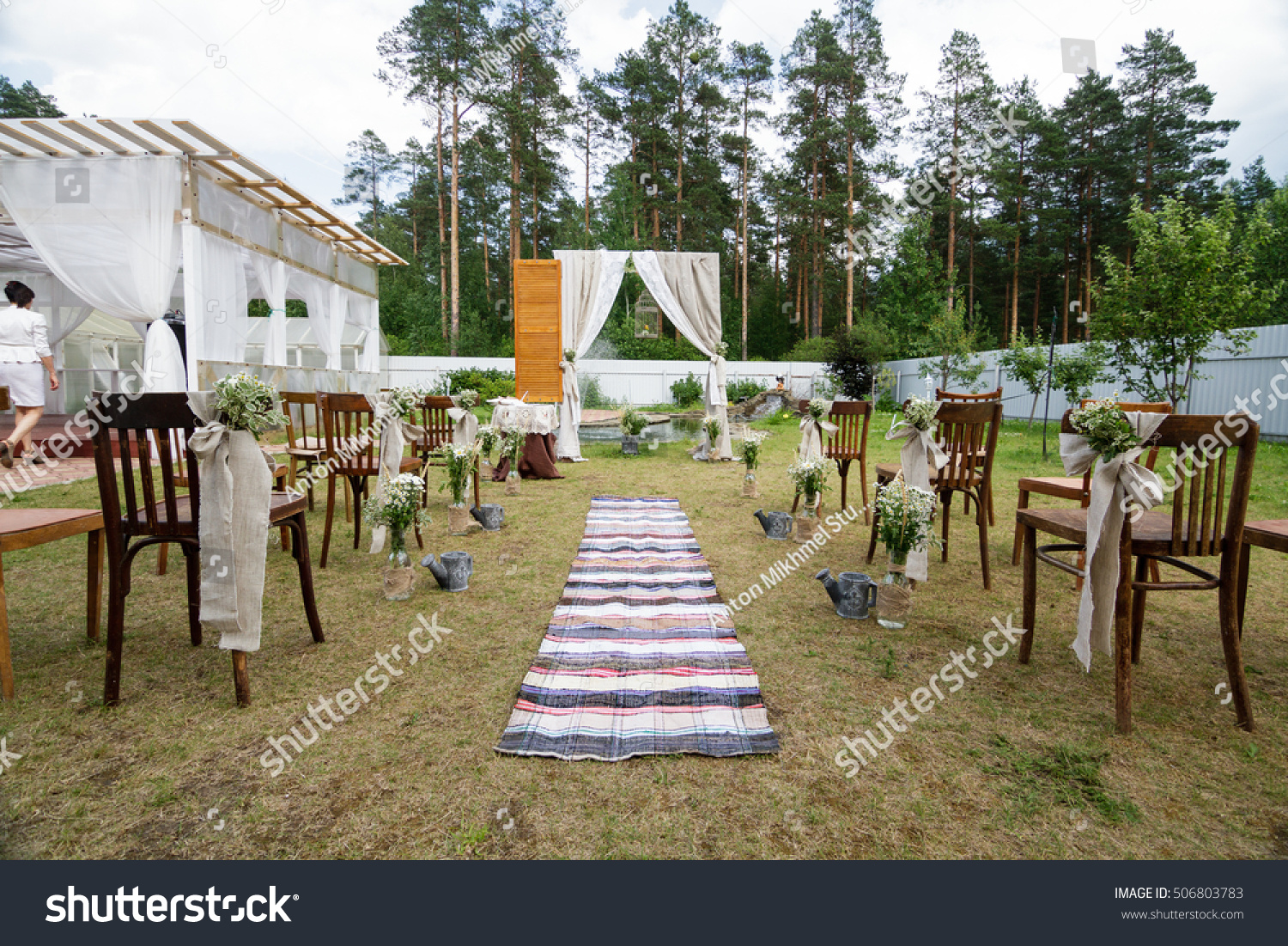 Venue Wedding Ceremony Rustic Style Retro Stock Photo Image