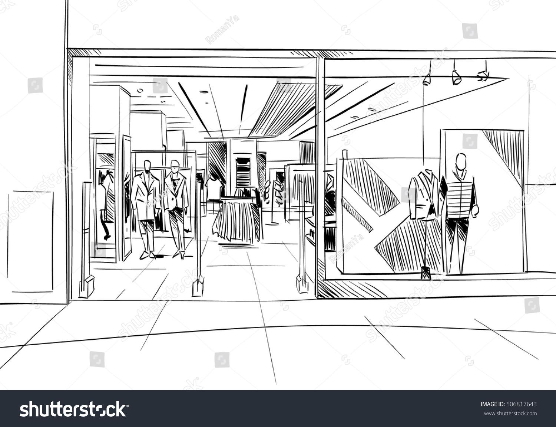 Fashion Store Hand Drawn Sketch Interior Design Vector Illustration