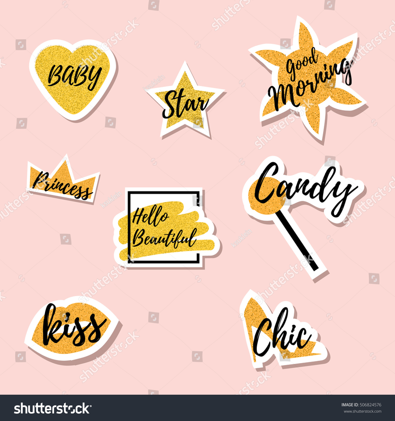 Trendy Fashionable Gold Colored Pins Cool Stock Vector Royalty Free