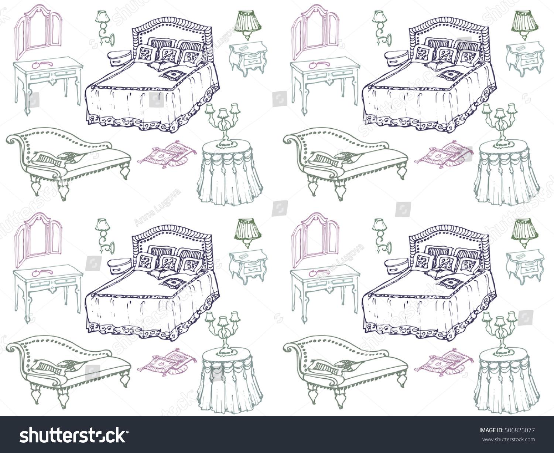 Seamless Texture Sketch Bedroom Furniture Bed Vector de ...