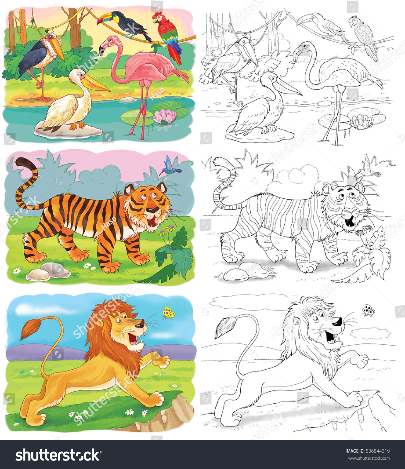Small Set Coloring Pages Cute African Stock Illustration 506844319 ...