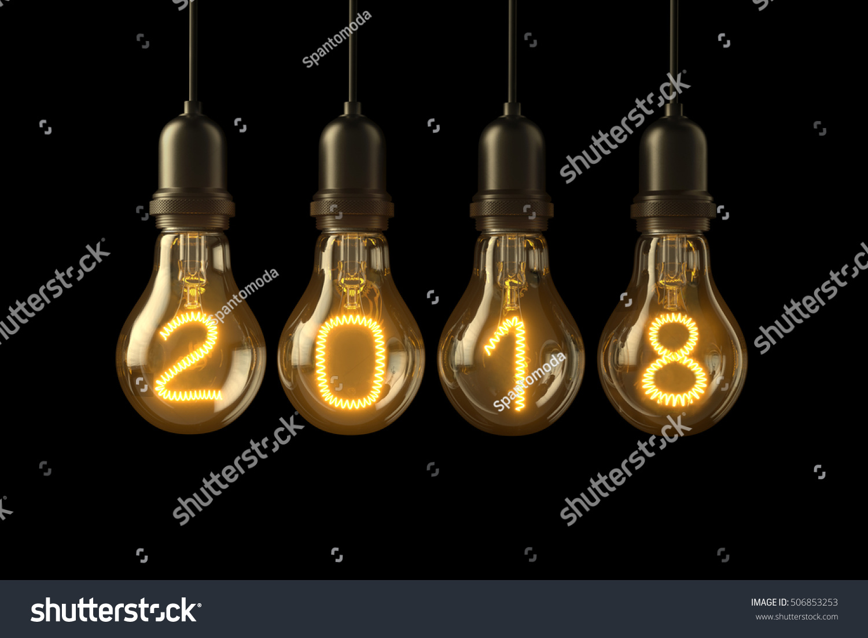christmas lamp light bulbs illuminated new year 2018 on black