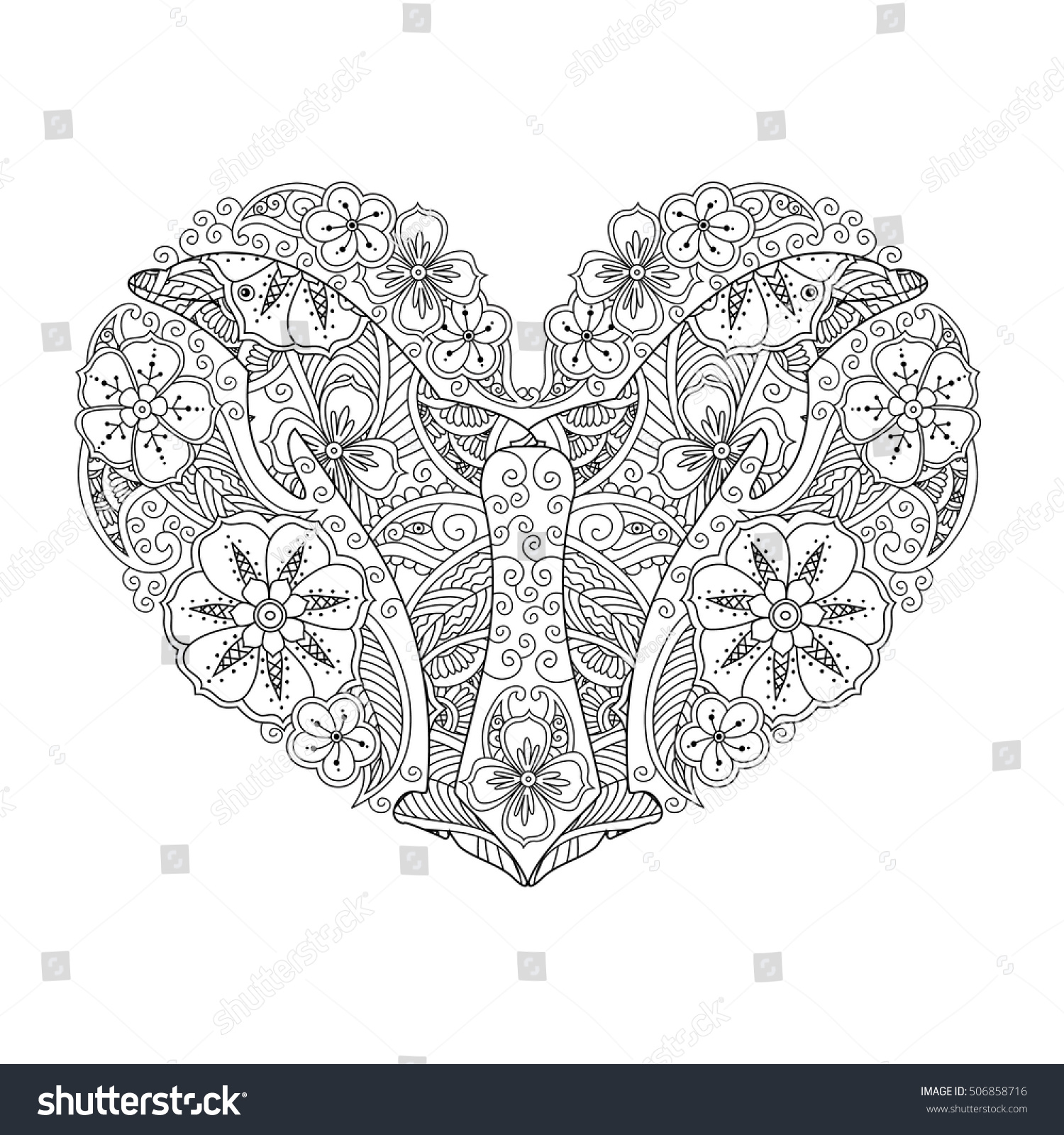Coloring Page Dolphin Heart Shape Isolated Stock Illustration ...