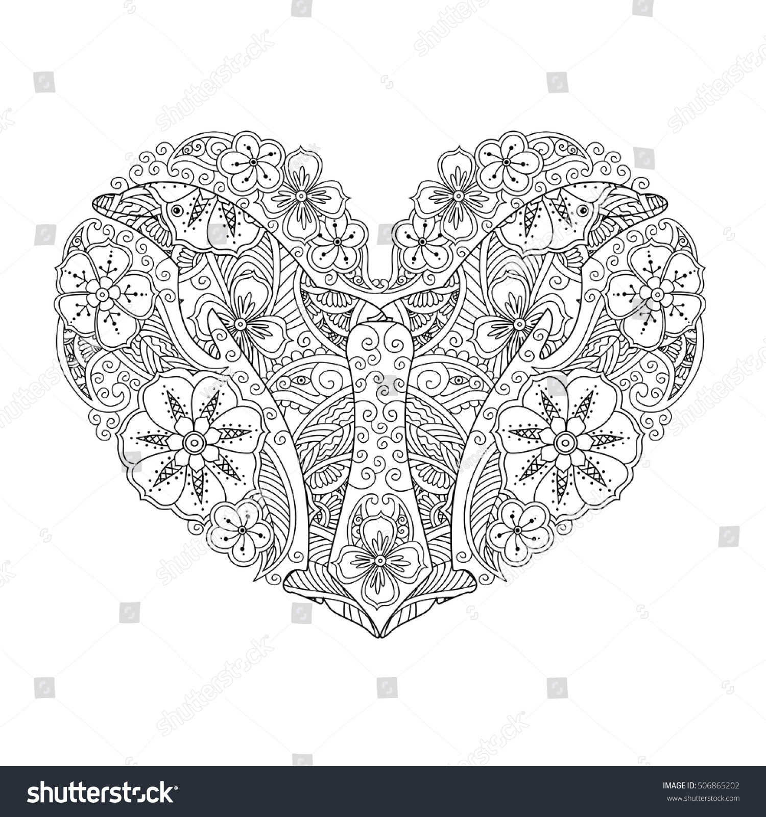 Royalty-free Coloring page with dolphin in heart… #506865202 Stock ...