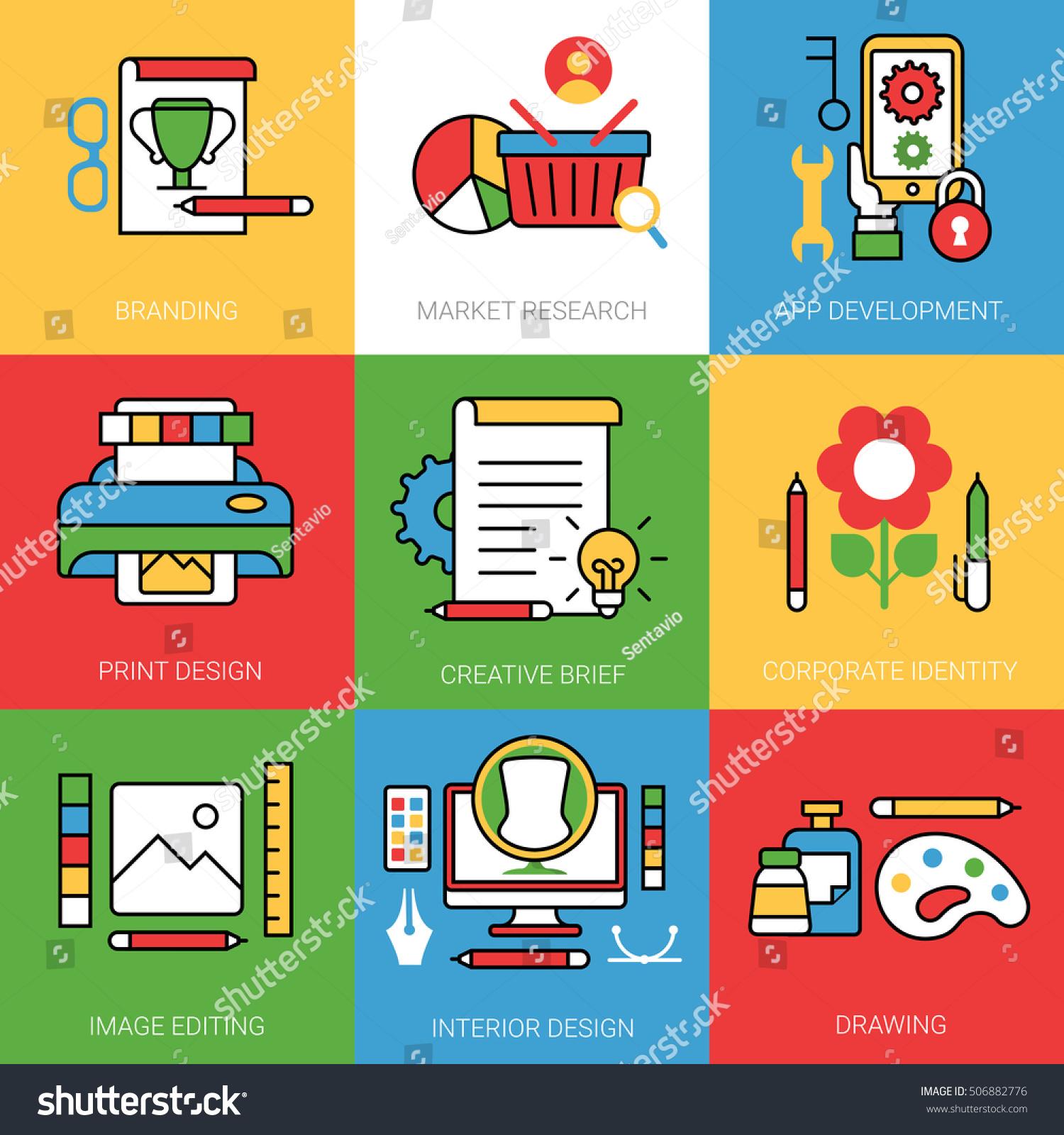 Linear Flat Branding Market Research App Stock Vector 506882776