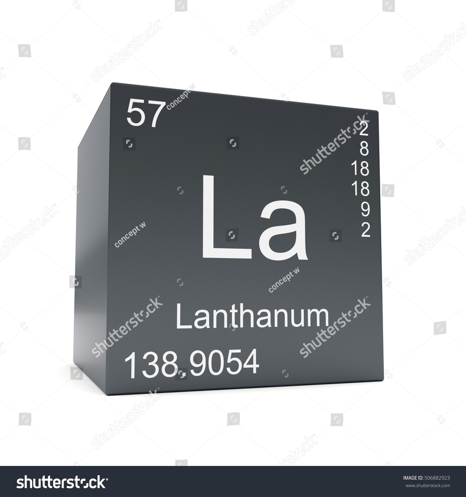 Lanthanum chemical element symbol periodic table stock lanthanum chemical element symbol from the periodic table displayed on black cube 3d render gamestrikefo Image collections