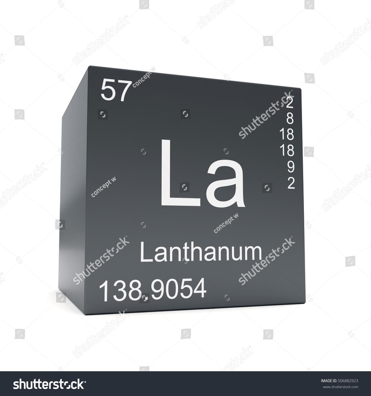 Lanthanum chemical element symbol periodic table stock lanthanum chemical element symbol from the periodic table displayed on black cube 3d render gamestrikefo Gallery