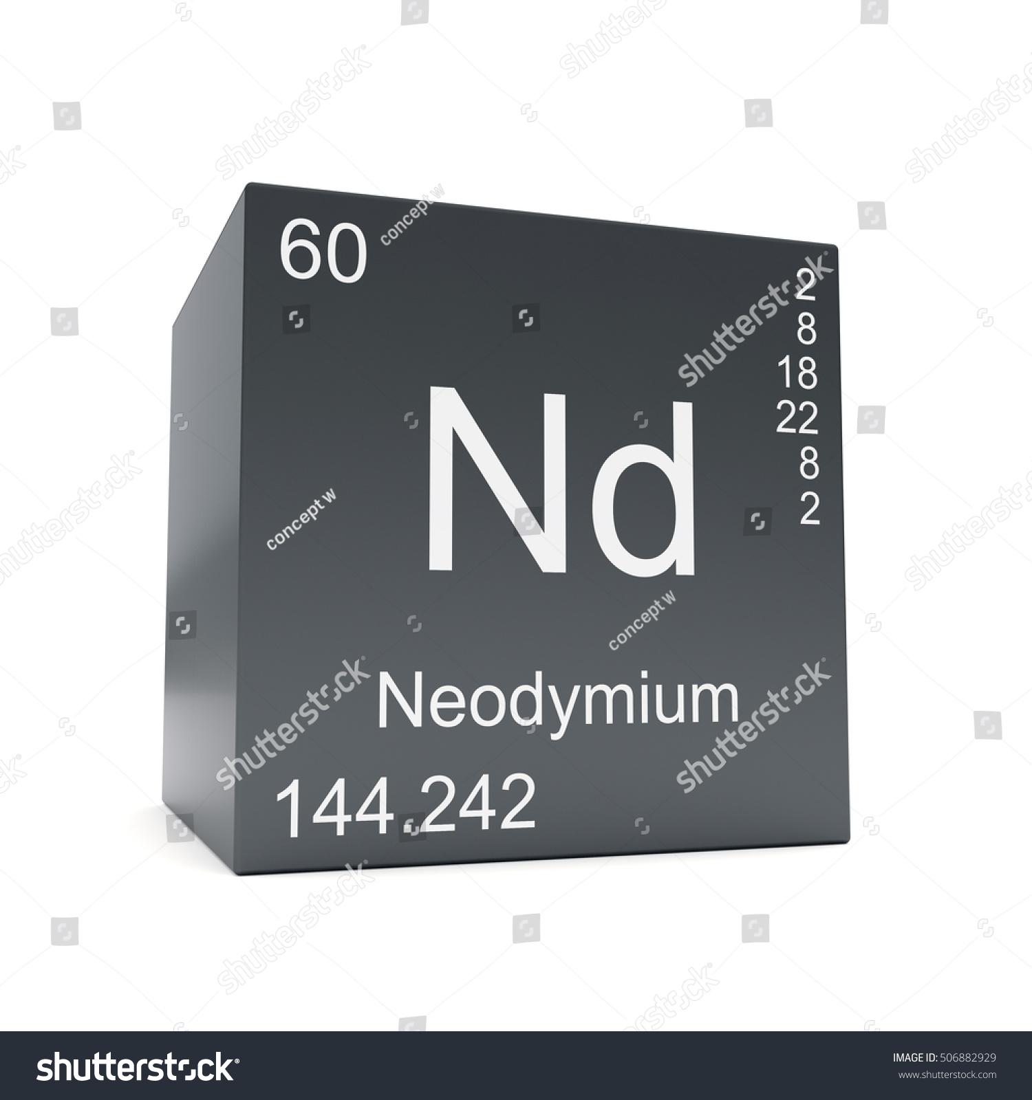 Neodymium chemical element symbol periodic table stock neodymium chemical element symbol from the periodic table displayed on black cube 3d render gamestrikefo Choice Image