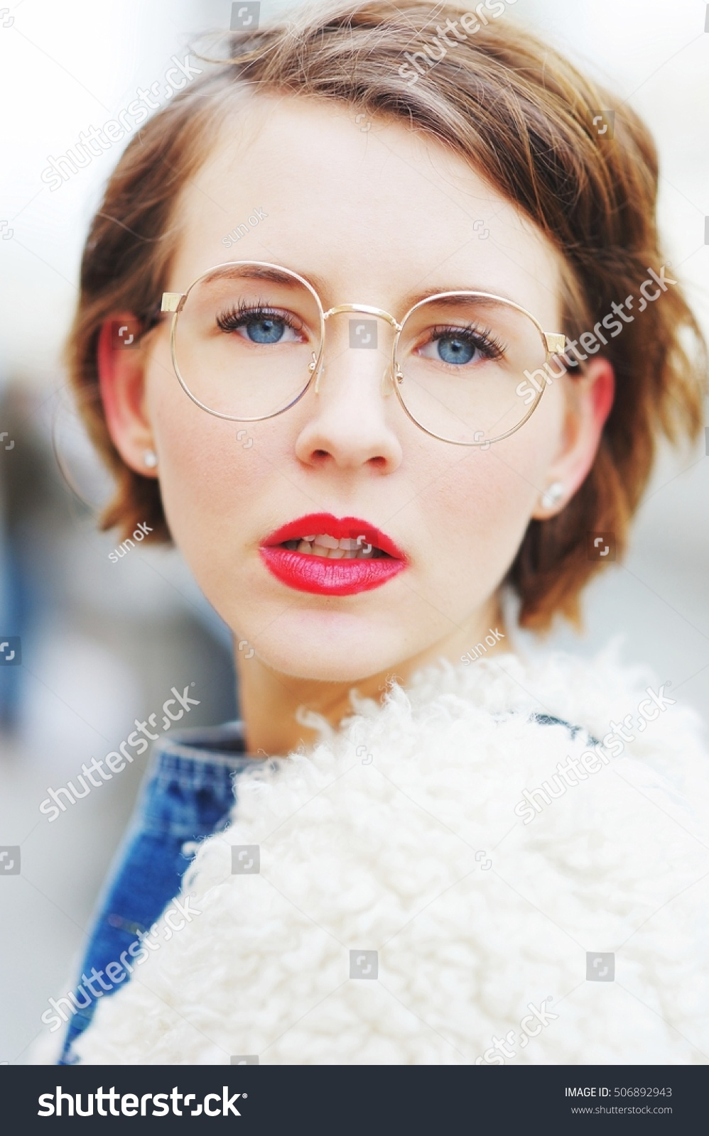 bbd53824d80 Portrait Young Beautiful Successful Girls Glasses Stock Photo (Edit ...