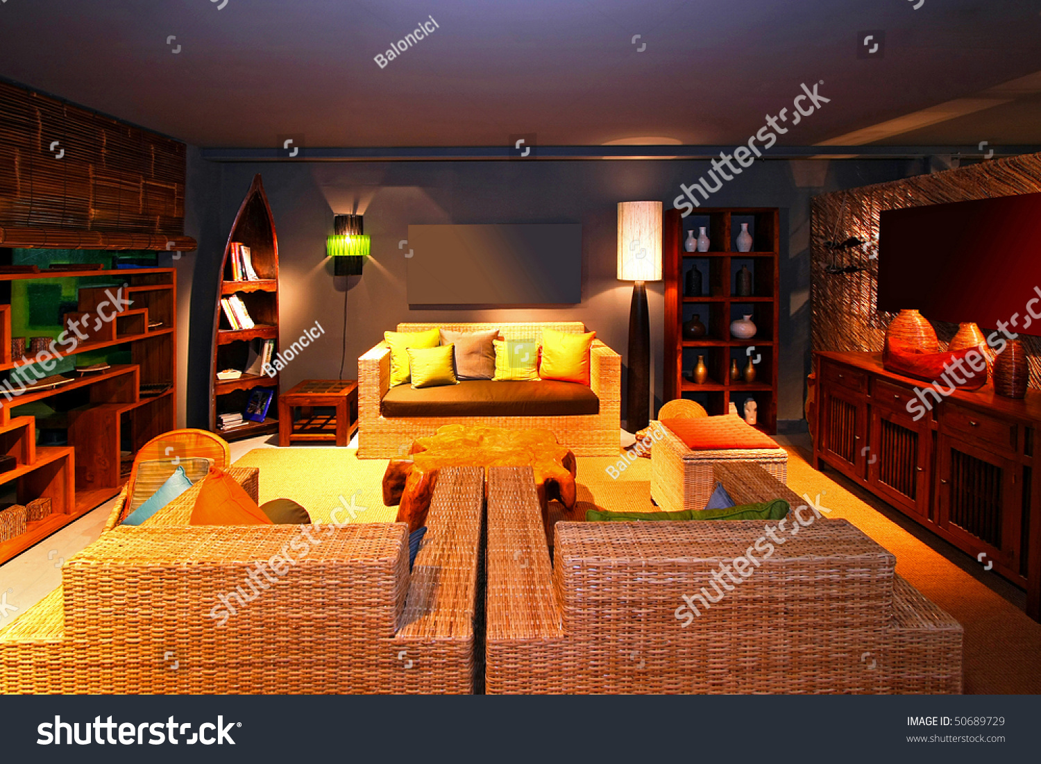 Oriental style living room with reed furniture stock photo 50689729 shutterstock for Oriental style living room furniture