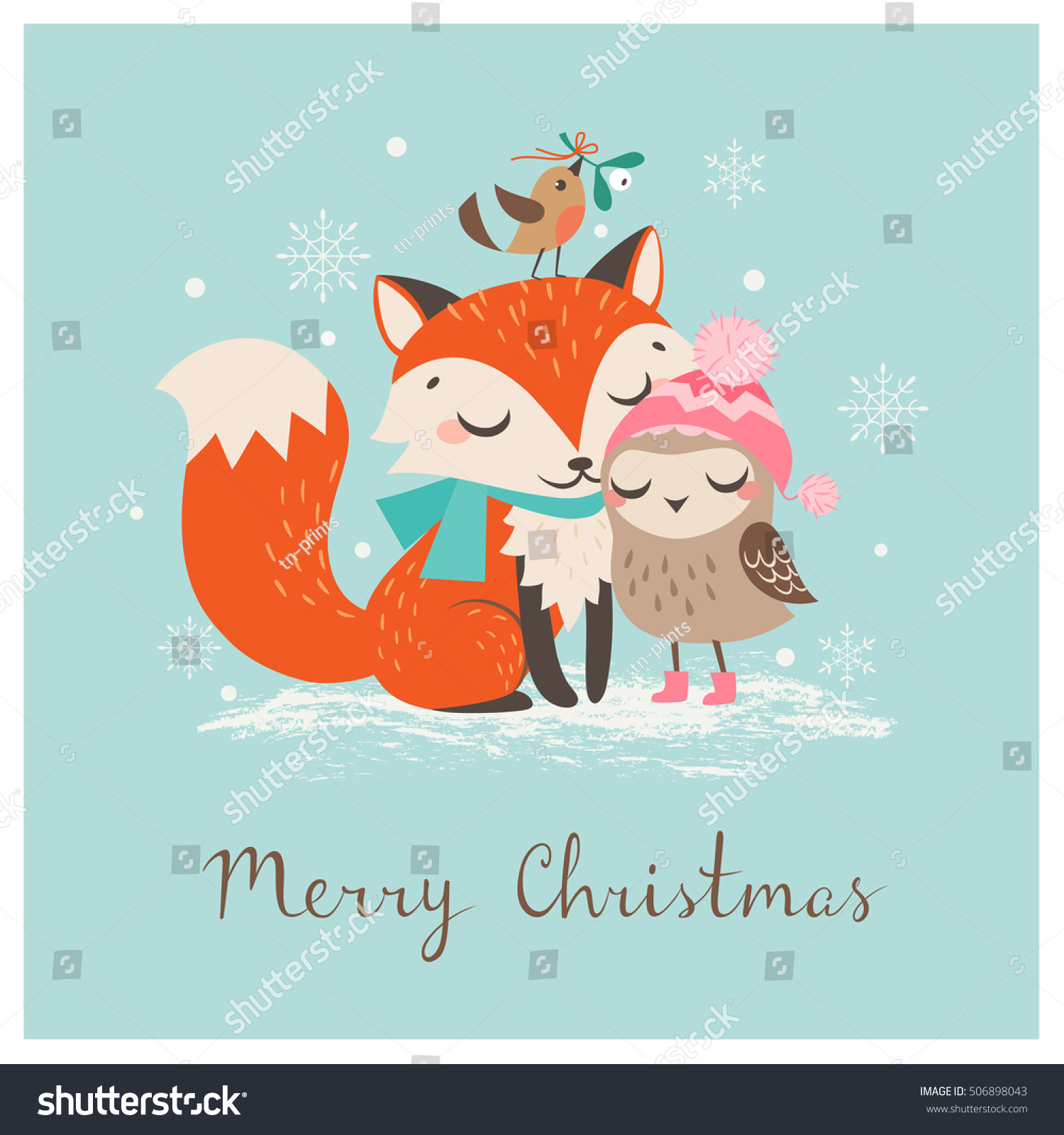 Fox with a hat new year or christmas animal isolated on white - Cute Christmas Greeting Card With Fox And Owl
