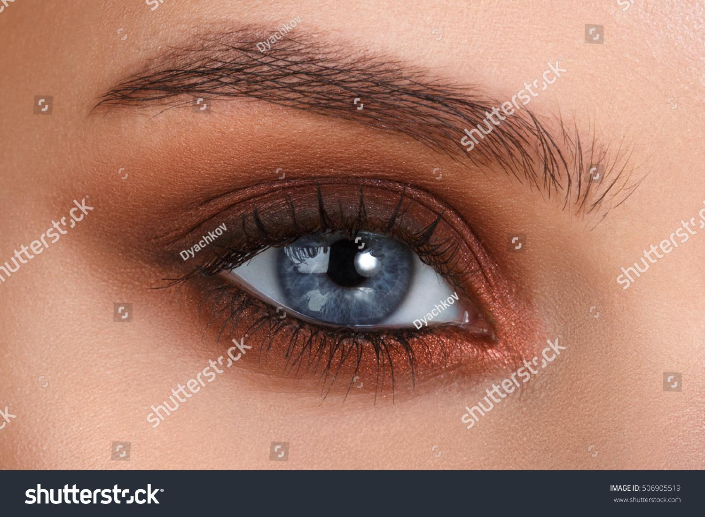 Brown Smokey Blue Eyes Eye Makeup Stock Photo Edit Now 506905519