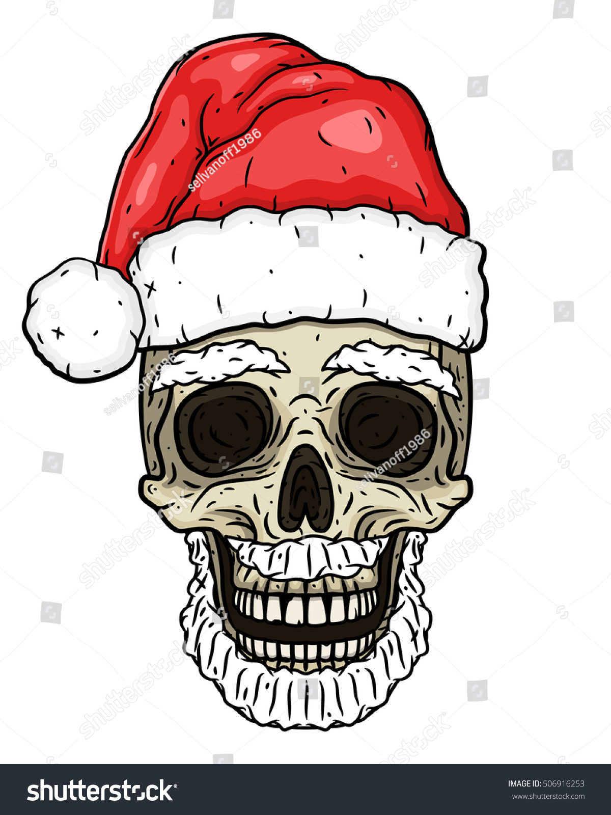 Santa Claus skull Cartoon skull