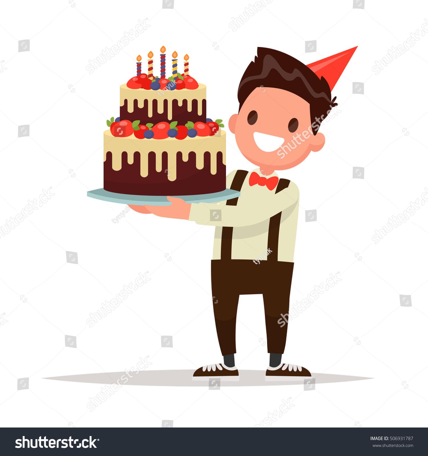 Childrens Birthday Boy Holding Large Cake Stock Vector 506931787