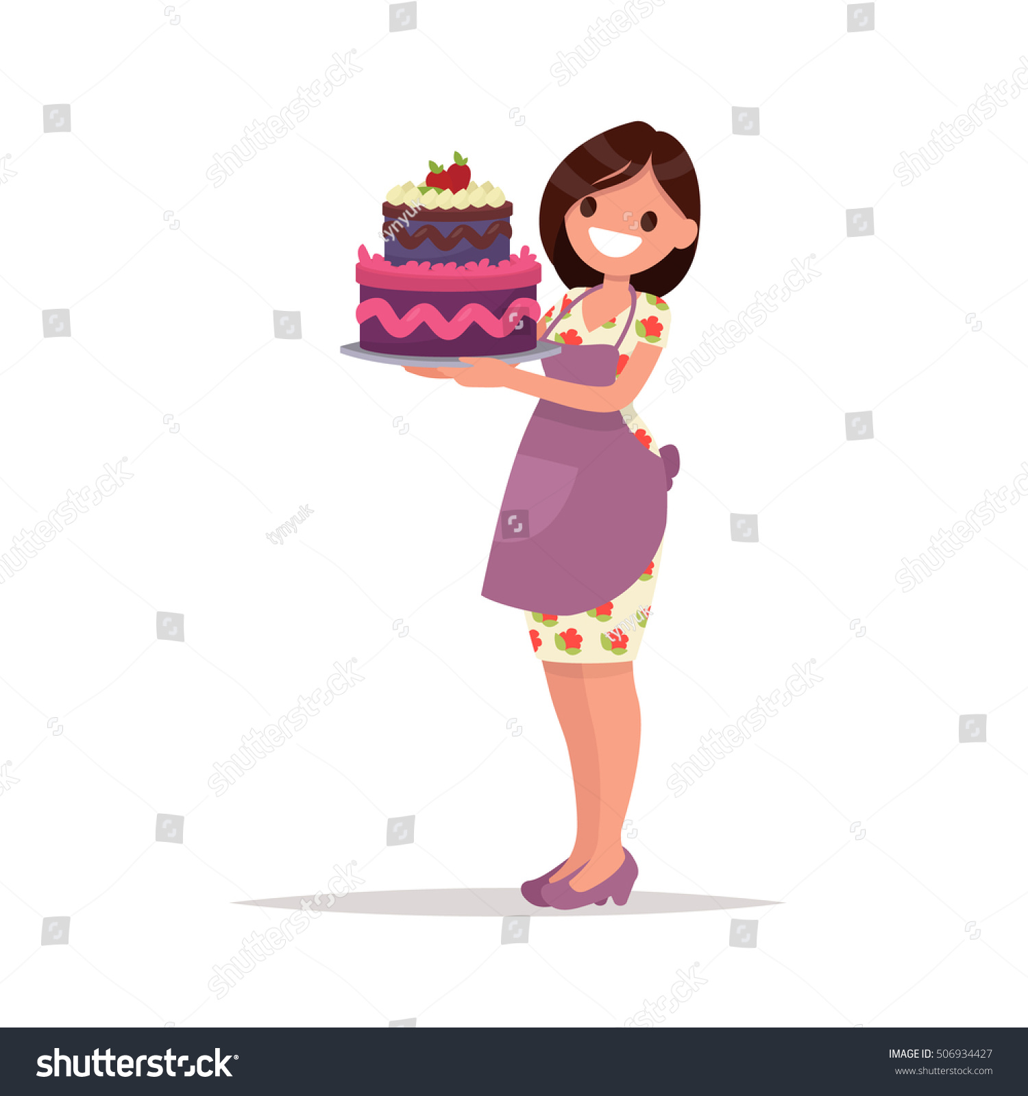 Homemade Birthday Cake Housewife Holds Beautiful Stock Vector