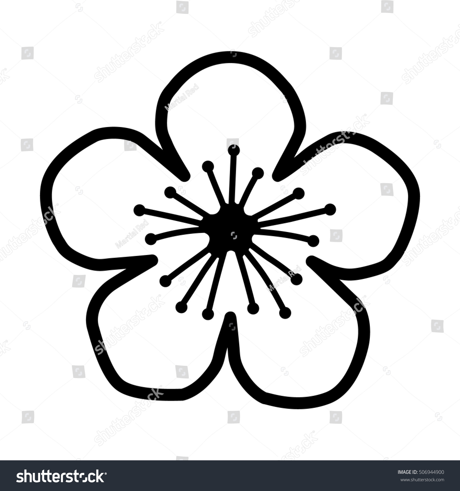 Line Drawing Website : Peach cherry blossom flower line art stock vector