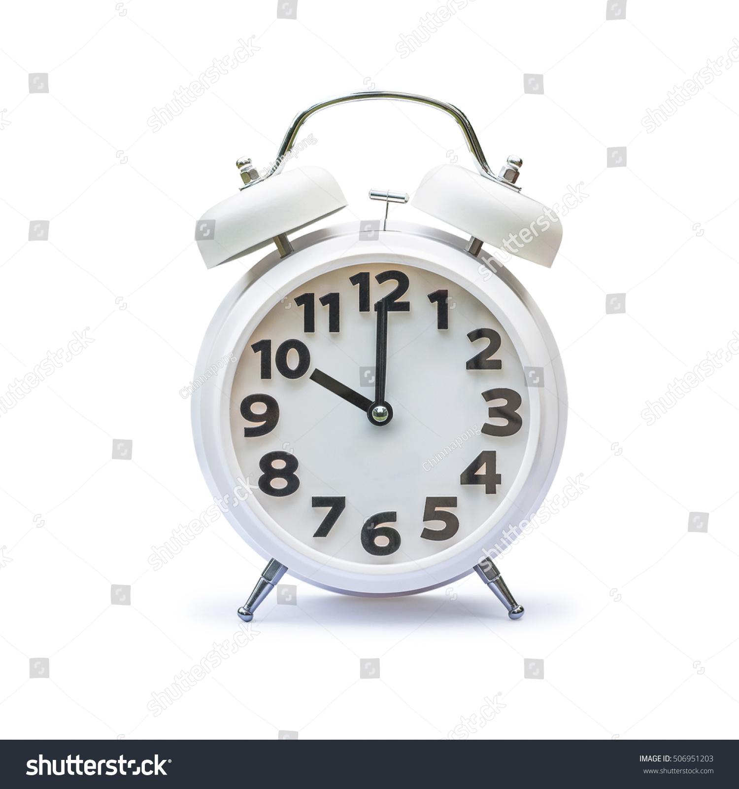 White Alarm Clock 10 Ten Oclock Stock Photo 506951203