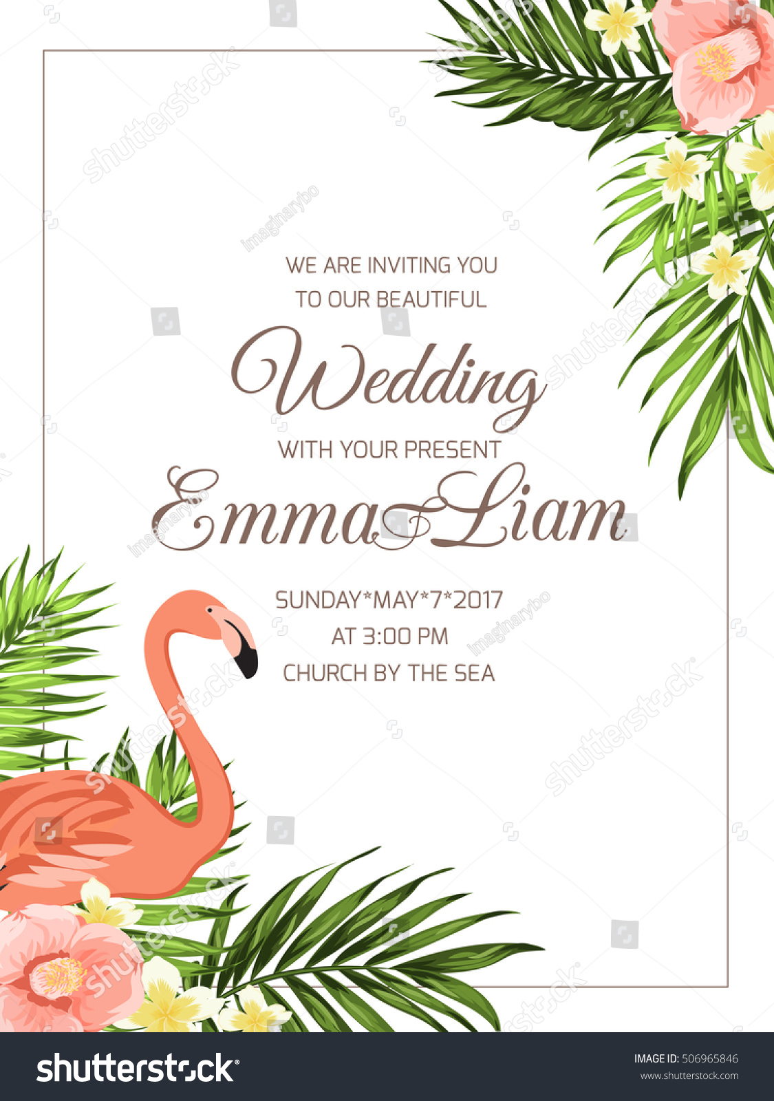 Marriage Ceremony Invitation Template. Corner Border Frame With Flamingo  Bird, Palm Leaves, Camellia  Ceremony Invitation Template