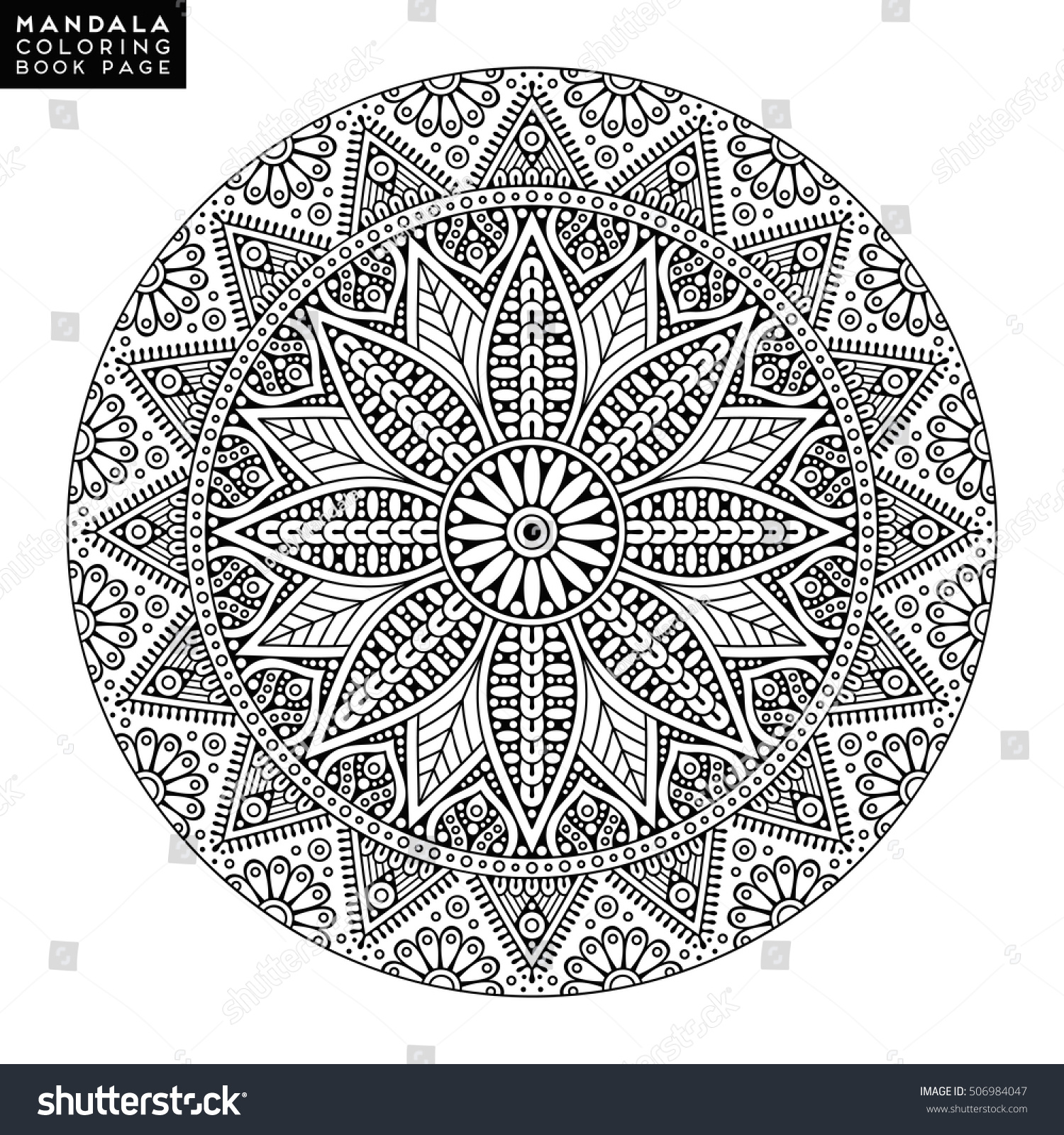 Flower Mandala Vintage Decorative Elements Oriental Stock Vector 506984047