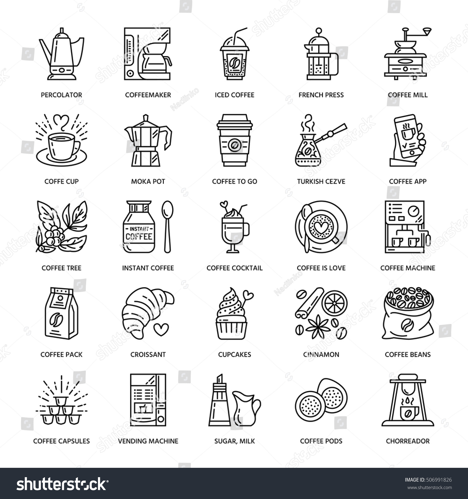 Vector line icons coffee making equipment 506991826 for Alif tree french cuisine
