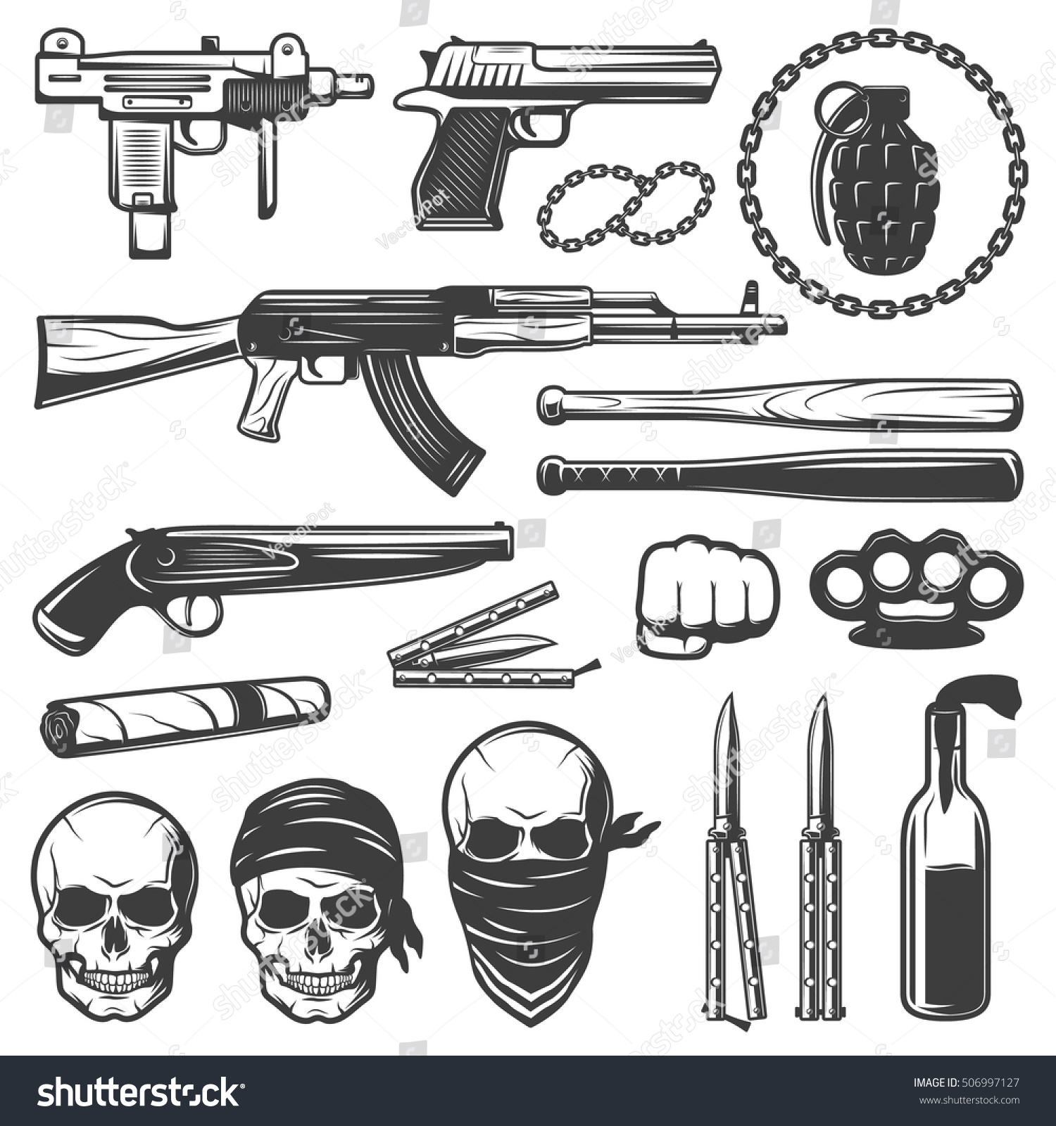 Set various isolated gangster symbols weapons stock vector set with various isolated gangster symbols with weapons guns bats knives knuckleduster and gang skulls flat biocorpaavc