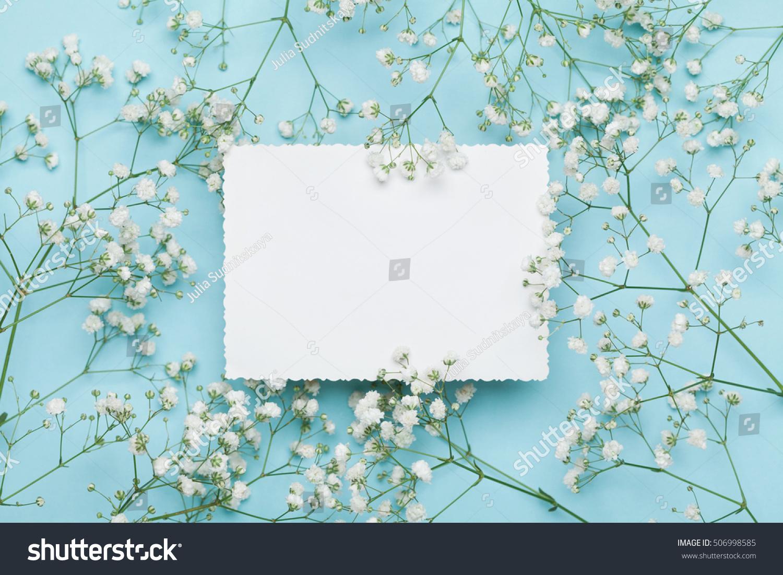 Wedding Mockup White Paper List Flowers Stock Photo Edit Now
