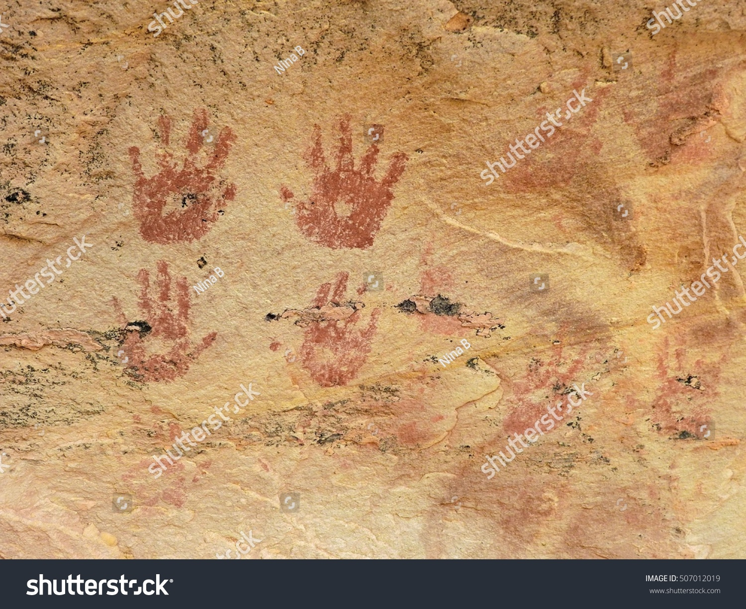 ancient native american hand print pictographs stock photo (edit now