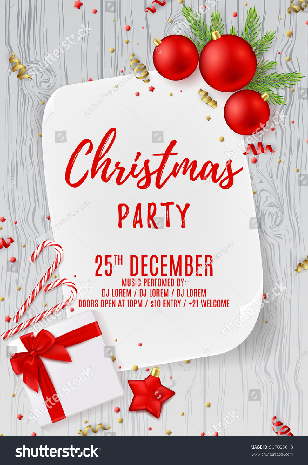 Merry Christmas Party Flyer Top View Stock Vector ...