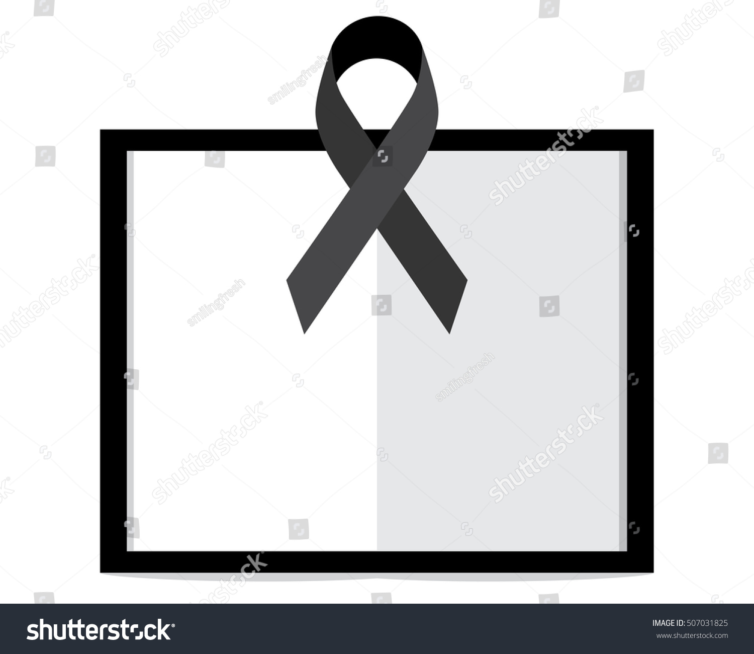 black awareness ribbon white paper mourning stock vector 507031825
