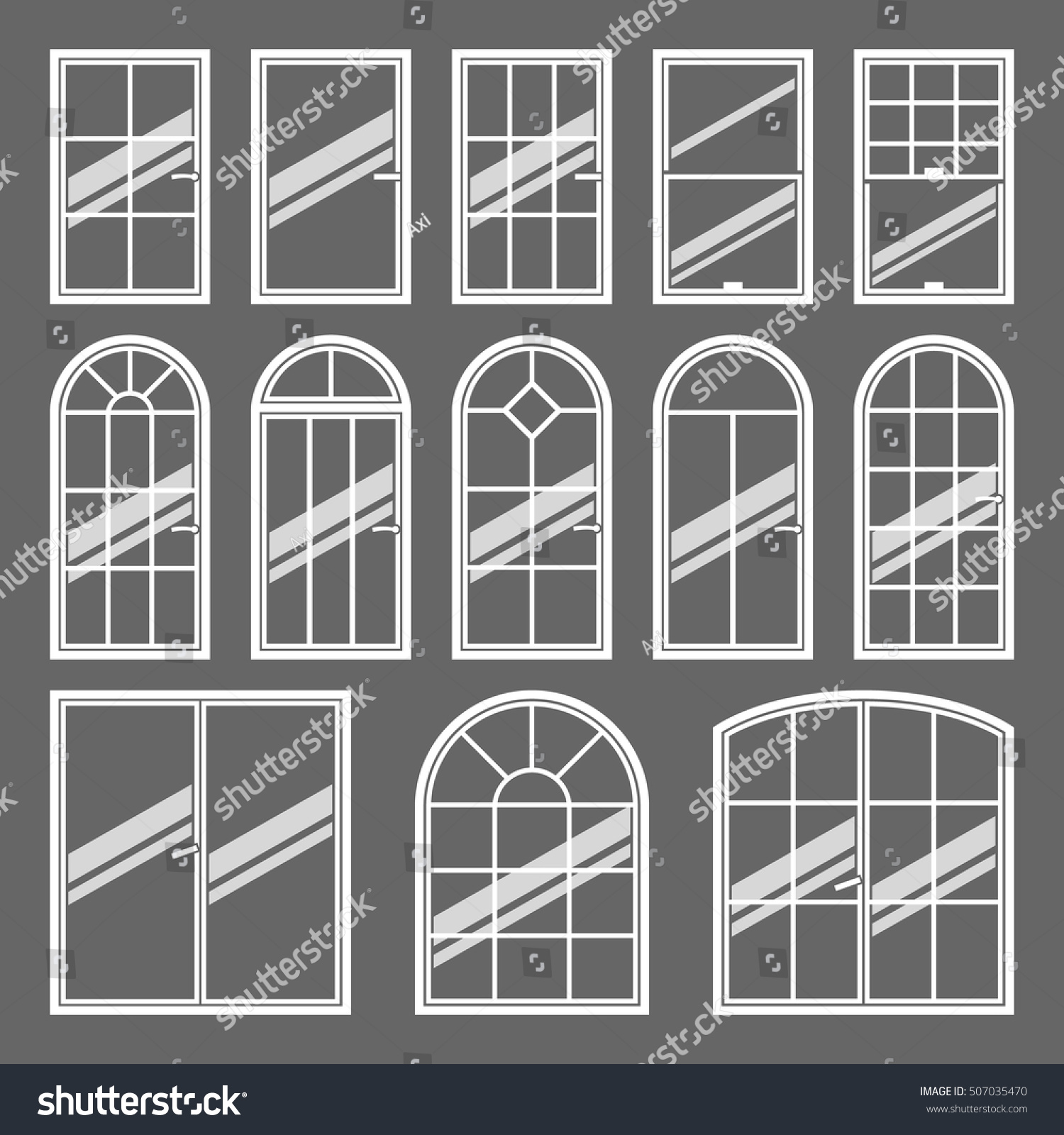 Vector Icons Set Different Types Windows Stock Vector
