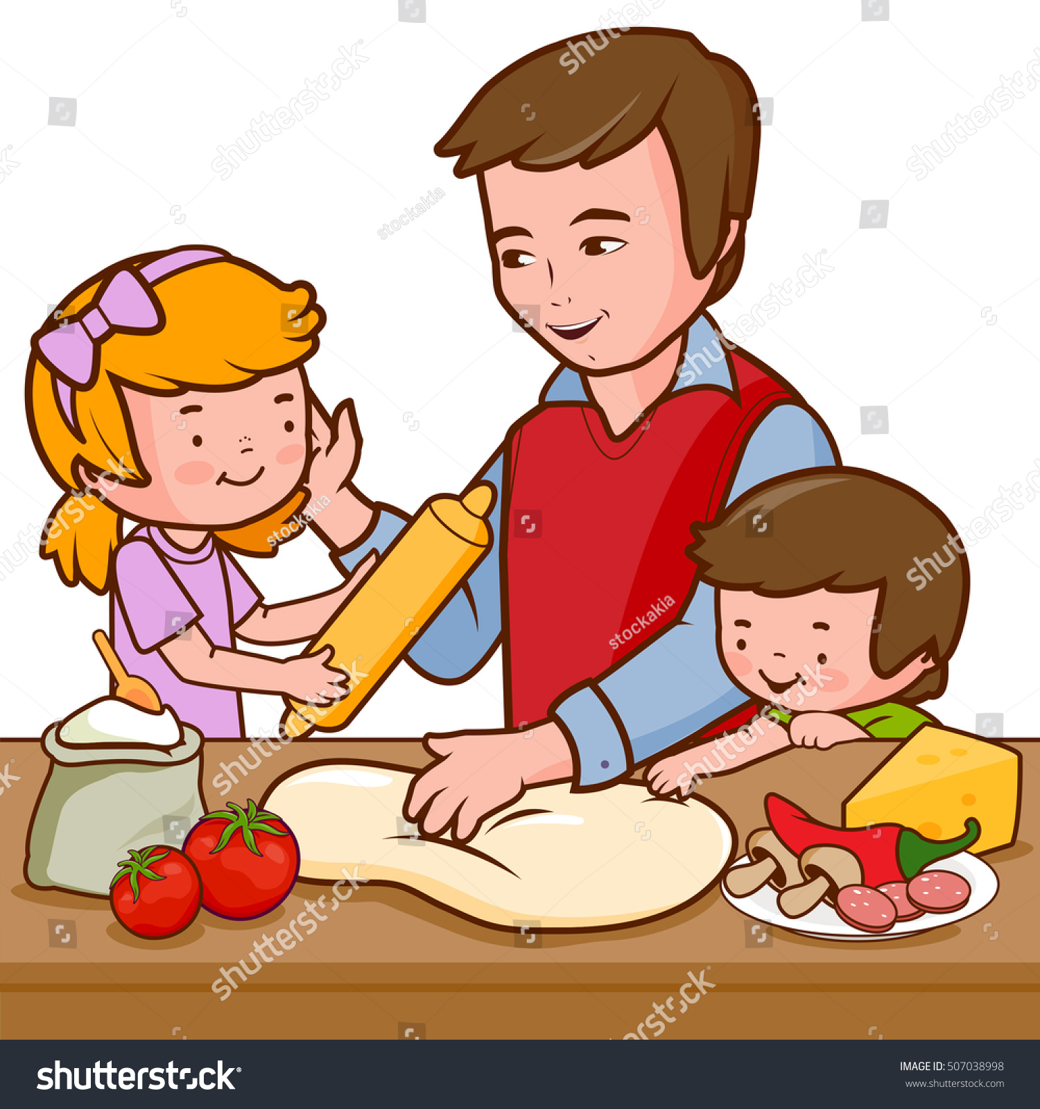 Selection of cartoons on cooking kitchens food and eating - Father And Children Cooking Pizza In The Kitchen