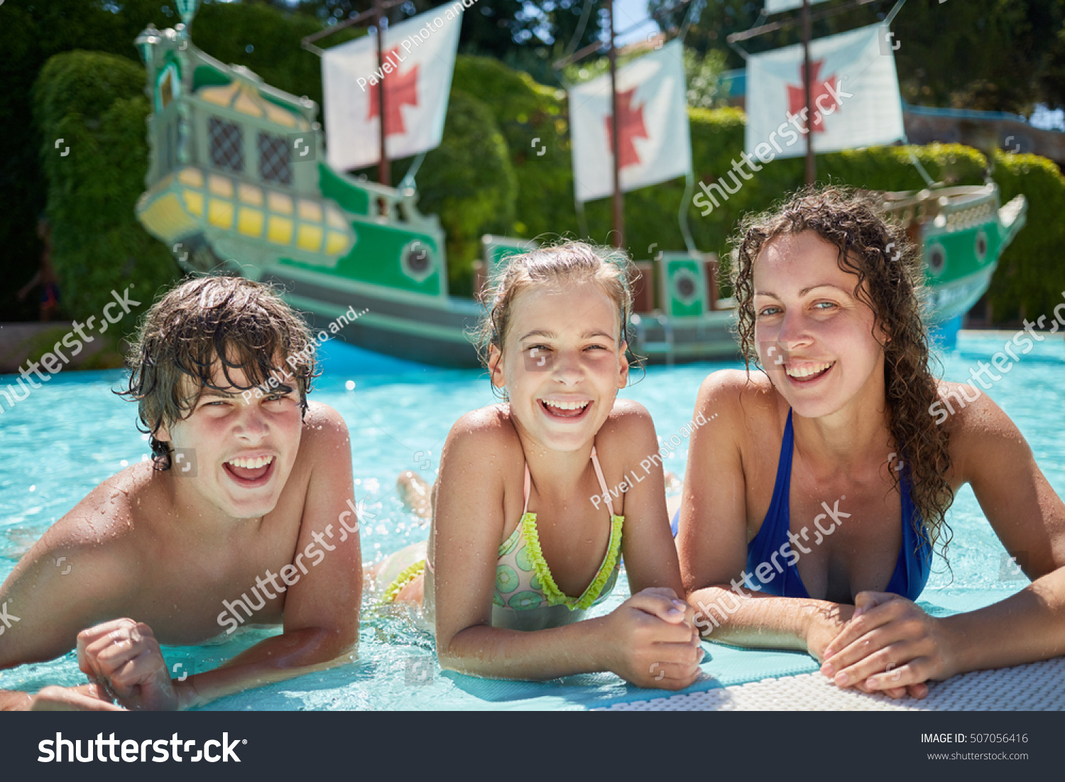 young woman two children lie on stock photo 507056416 shutterstock