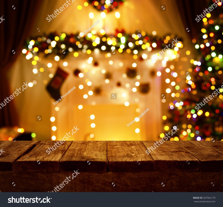 christmas kitchen wood table xmas holiday night lights empty wooden desk - Christmas Night Light