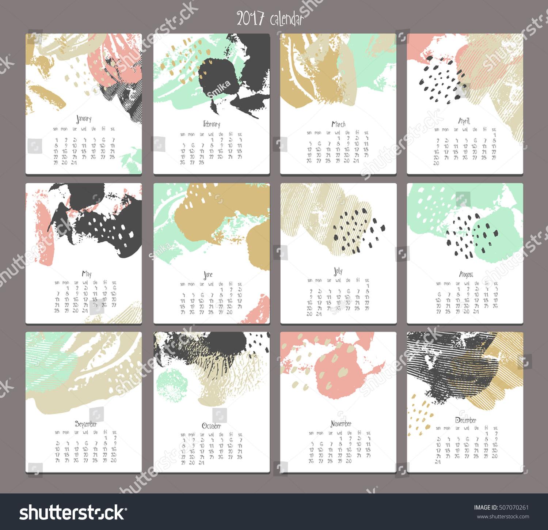 Calendar Templates Graphic Design : Creative calendar template different textures stock vector
