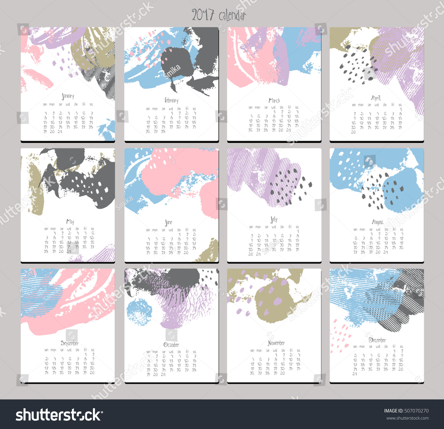 Calendar Templates Graphic Design : Creative calendar template with different textures