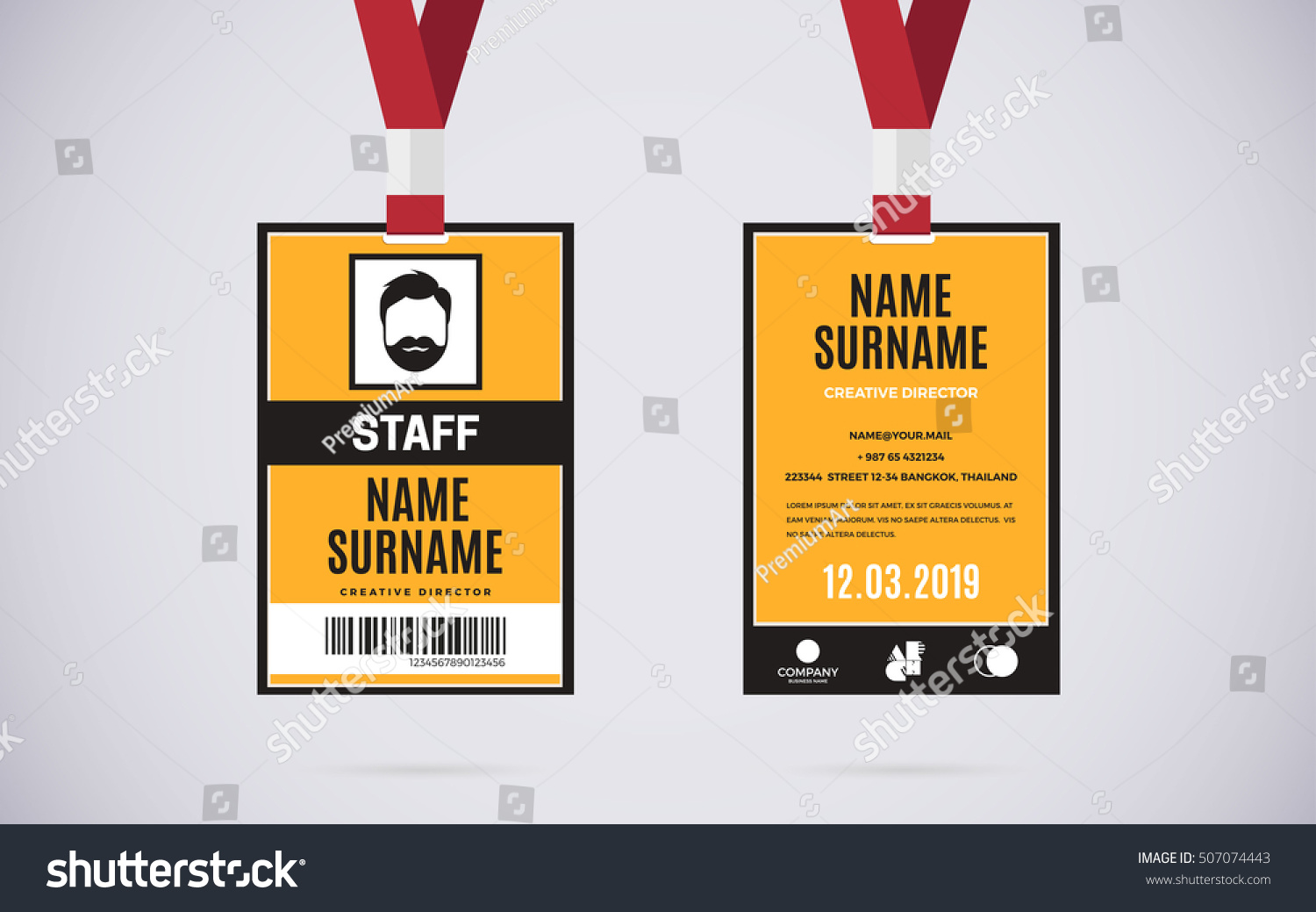 Event staff id card set lanyard stock vector 507074443 for Staff id badge template
