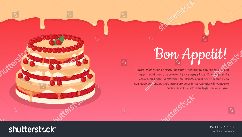 Bon Appetit Festive Cake Web Banner Stock Vector Hd Royalty Free