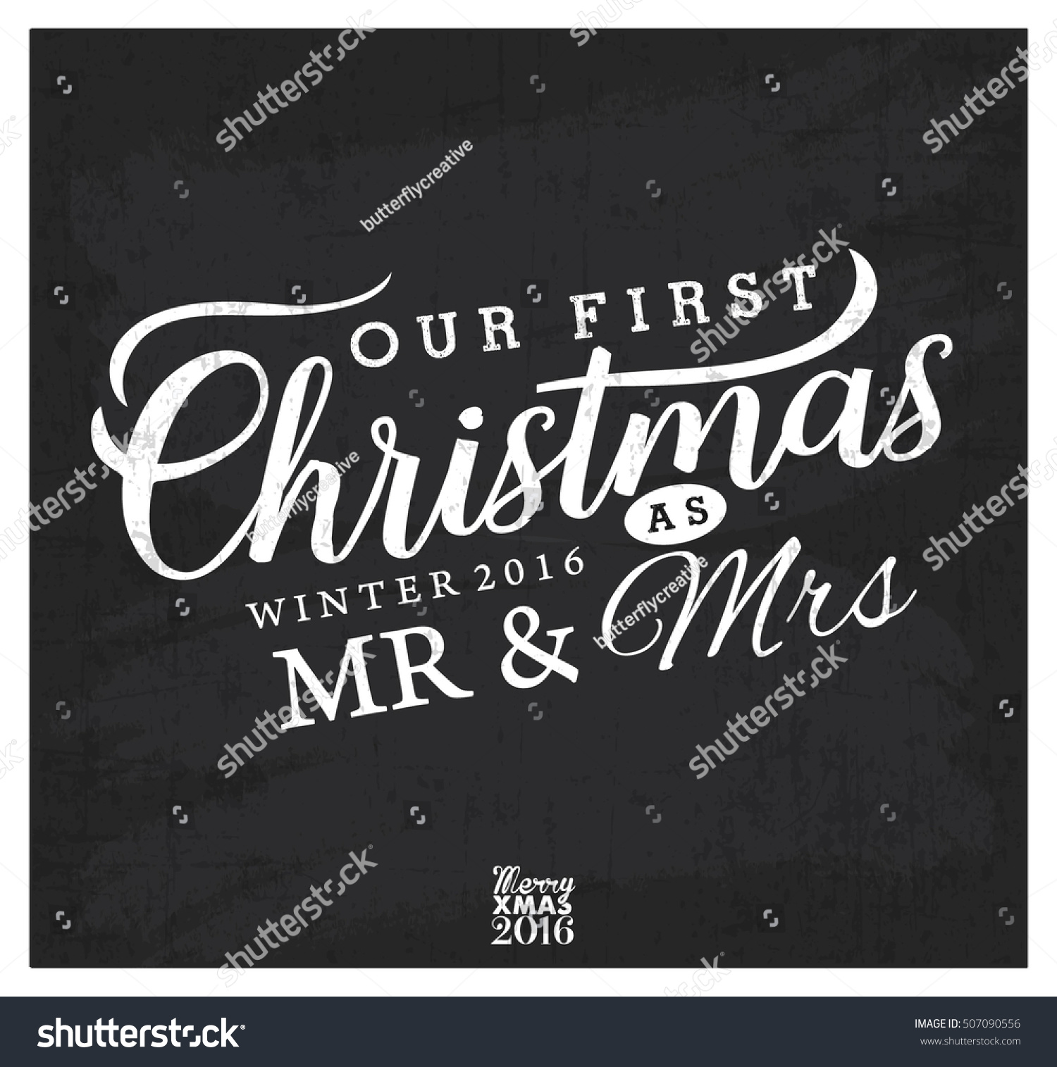 Our First Christmas Mr Mrs Christmas Stock Vektorgrafik Lizenzfrei