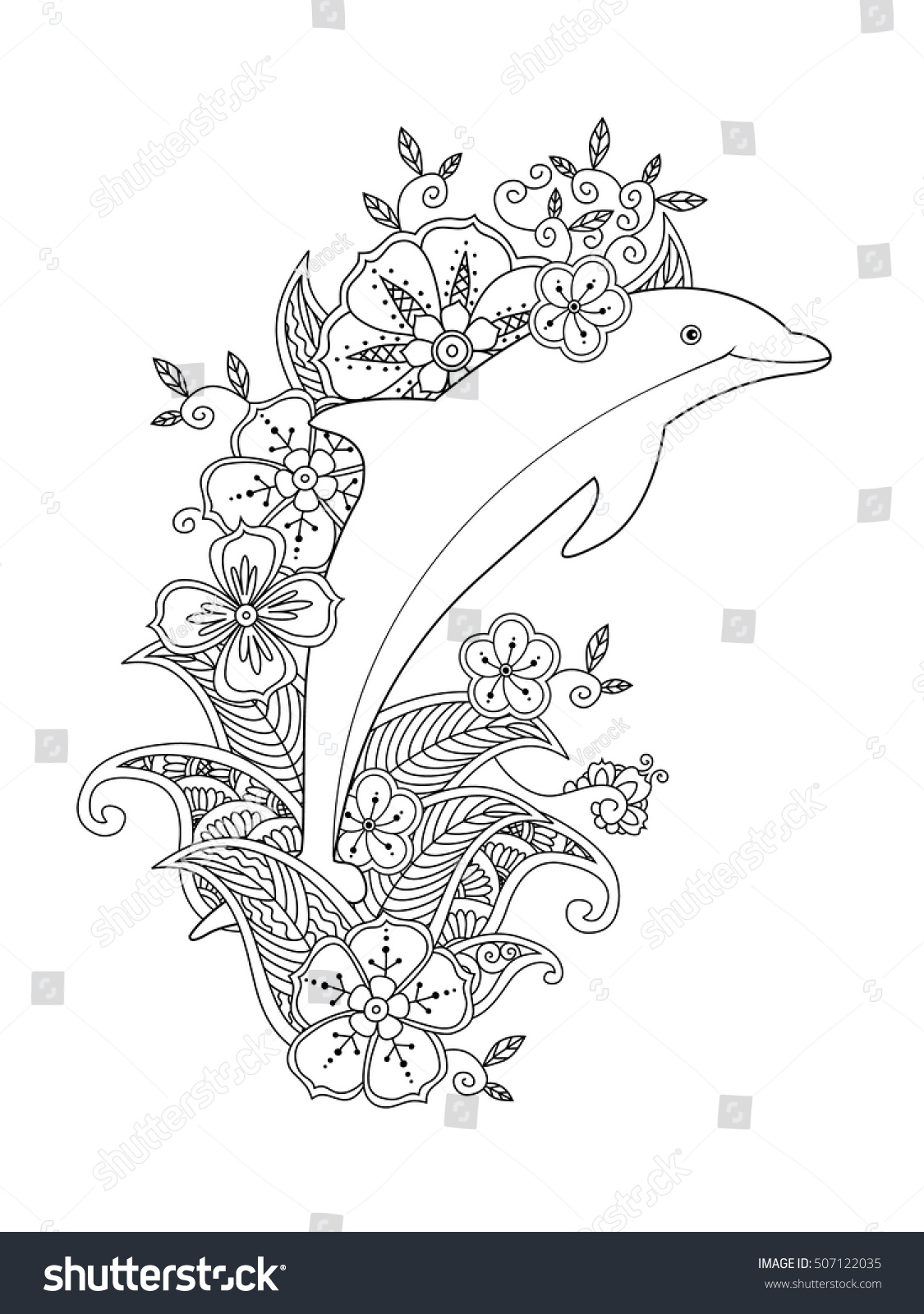 Coloring Page One Jumping Dolphin On Stock Illustration 507122035 ...