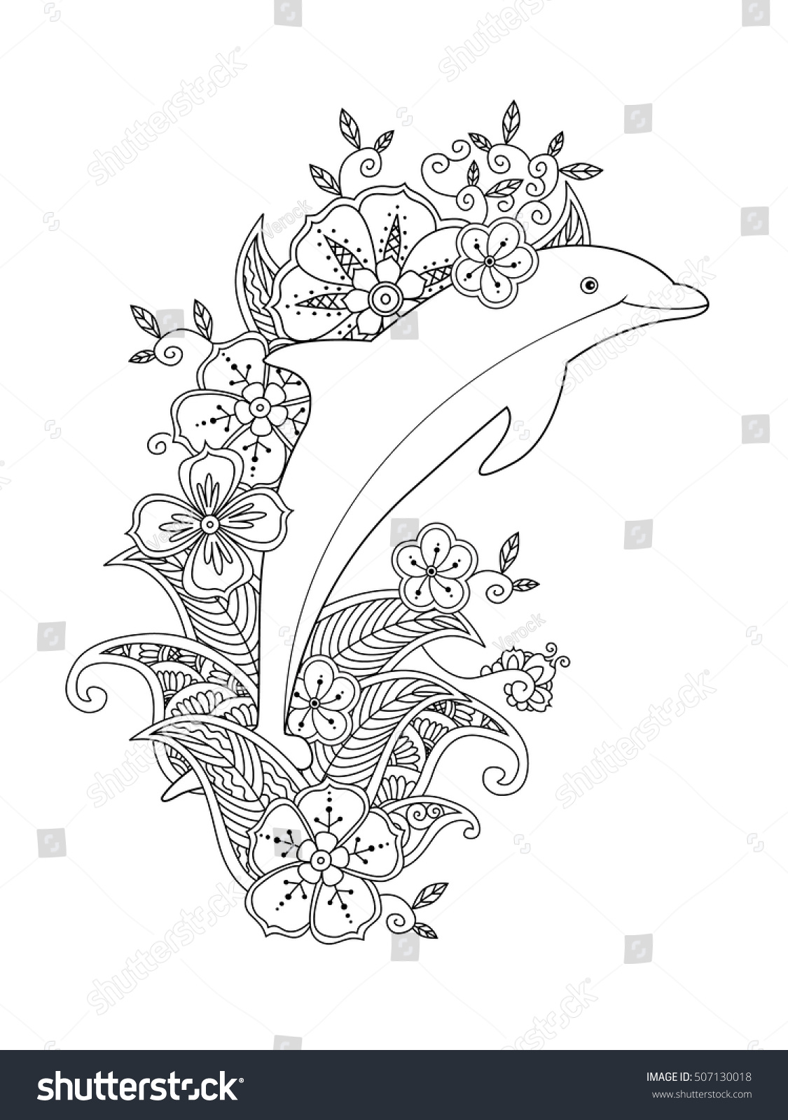 Coloring Page One Jumping Dolphin On Stock Vector 507130018 ...