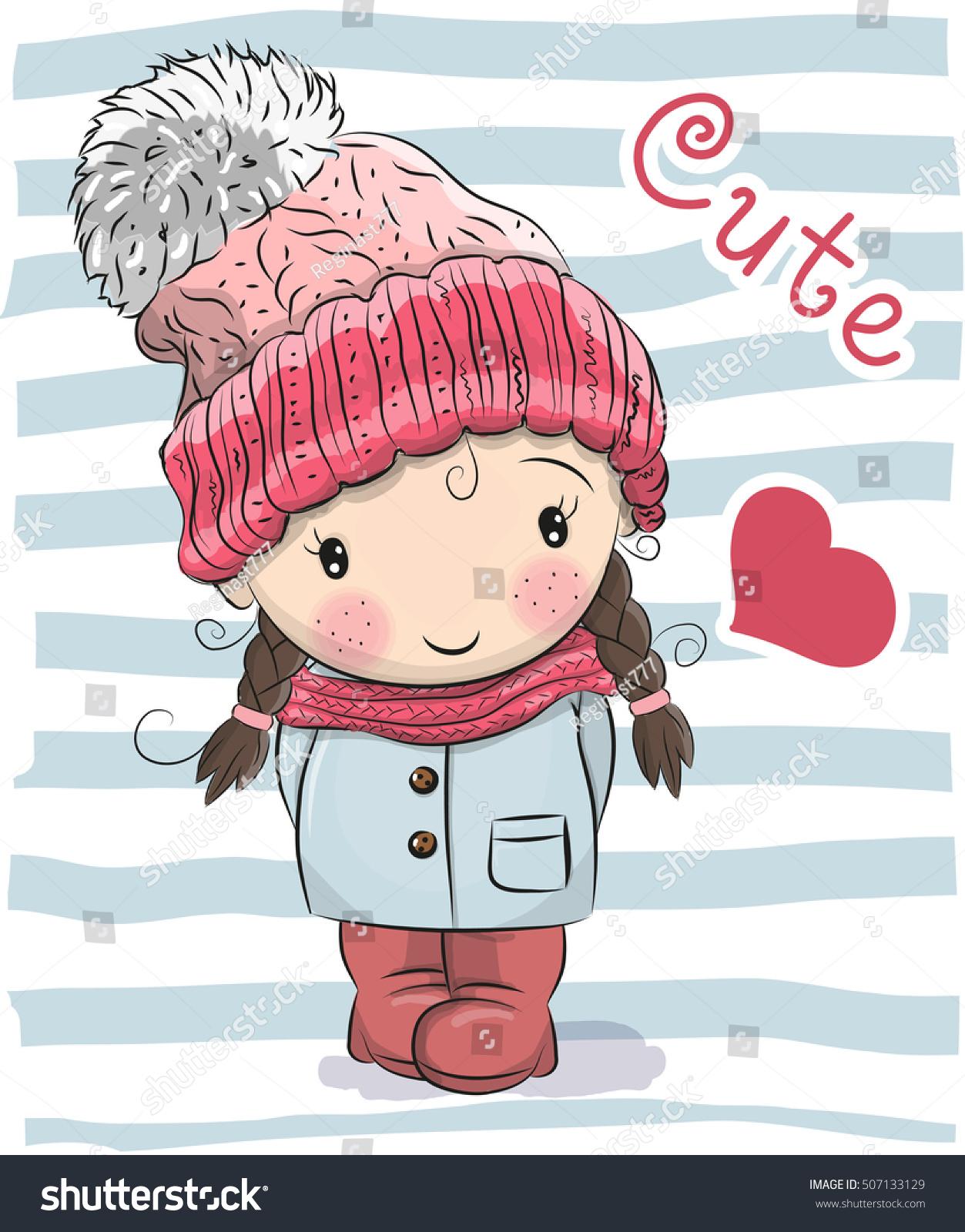 cute cartoon girl hat coat stock vector (2018) 507133129 - shutterstock