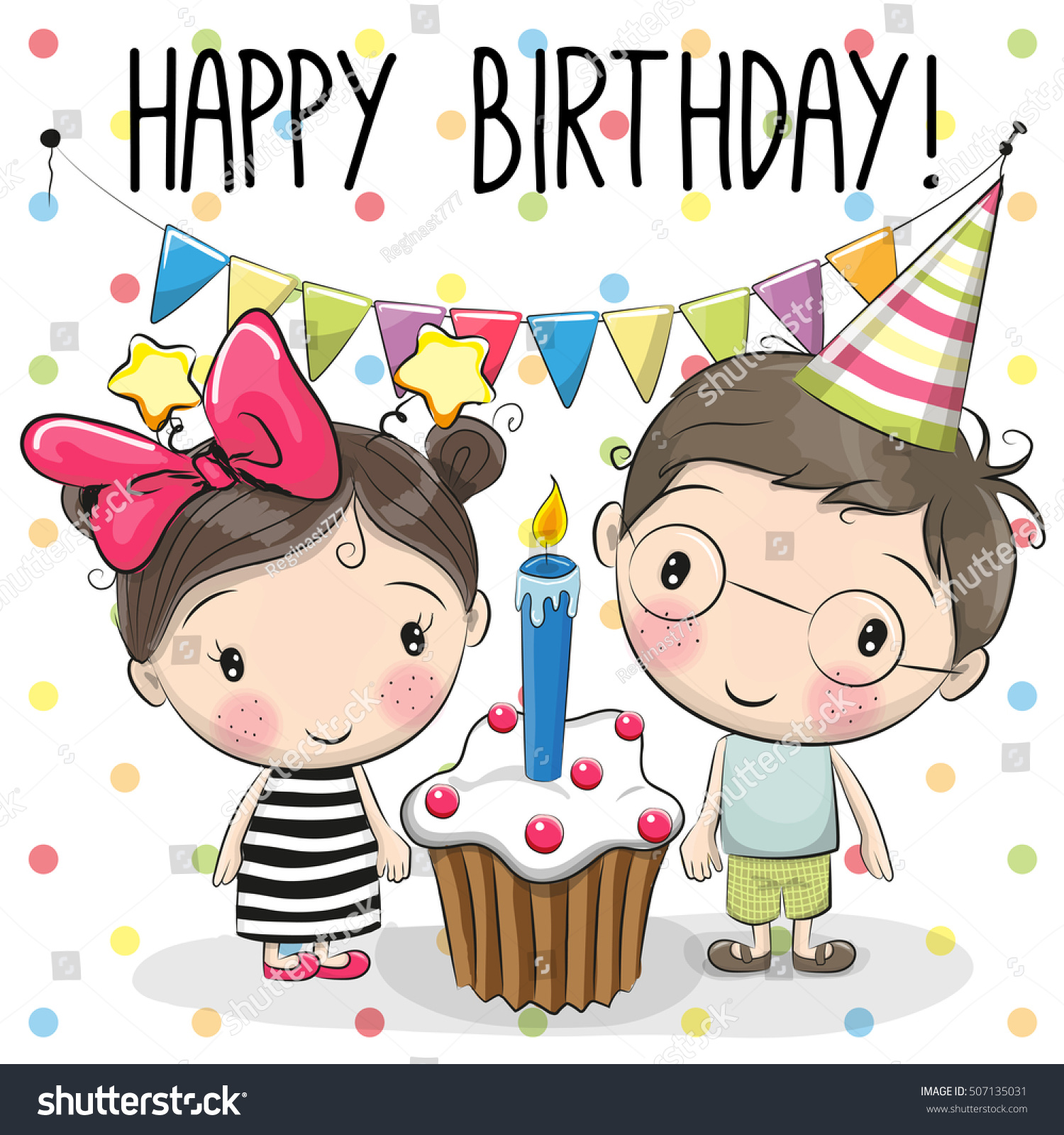 Greeting Birthday Card Cute Boy Girl Stock Vector