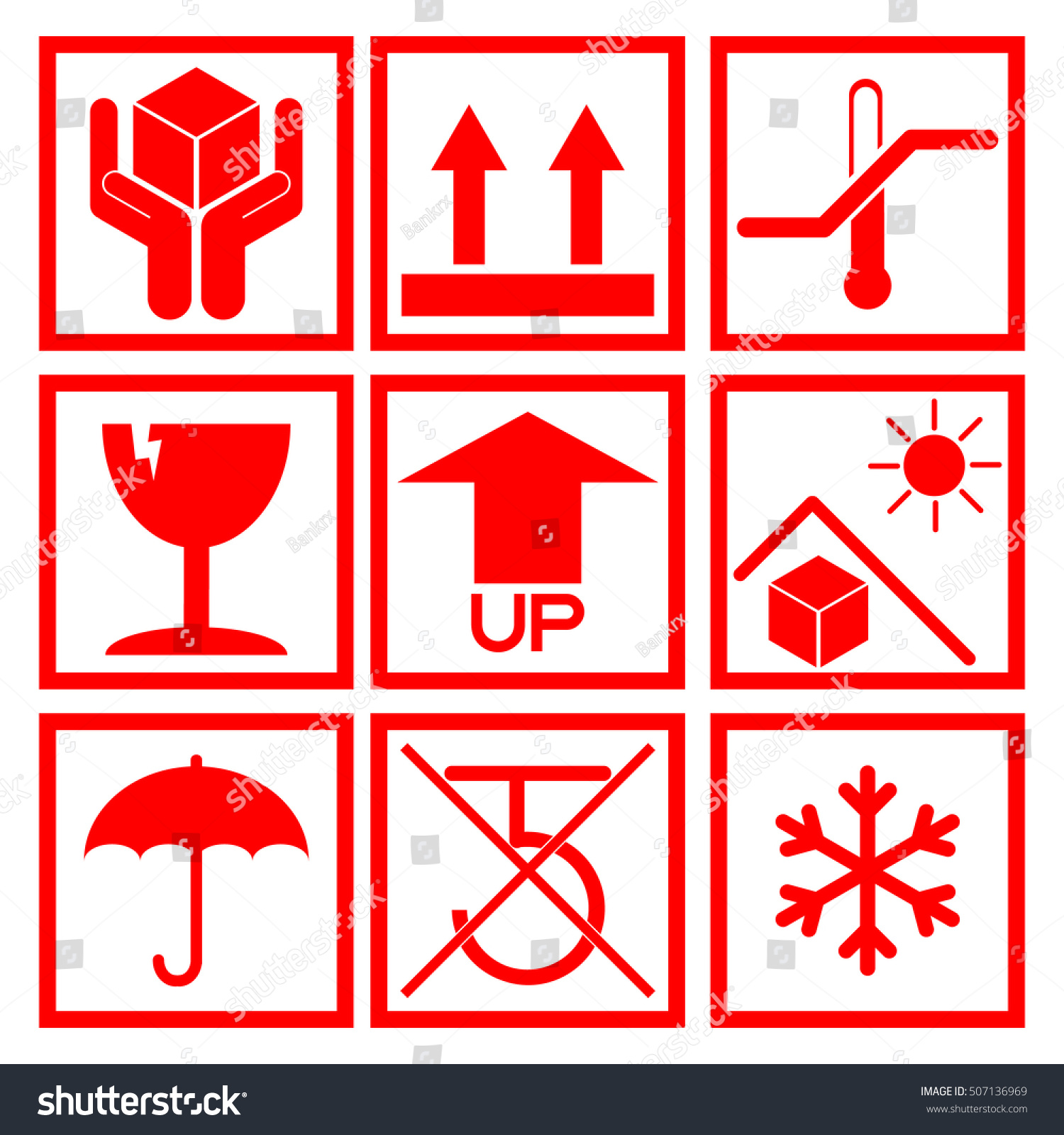 Royalty free set of red packaging symbol side up 507136969 set of red packaging symbol side up handle with care fragile no buycottarizona