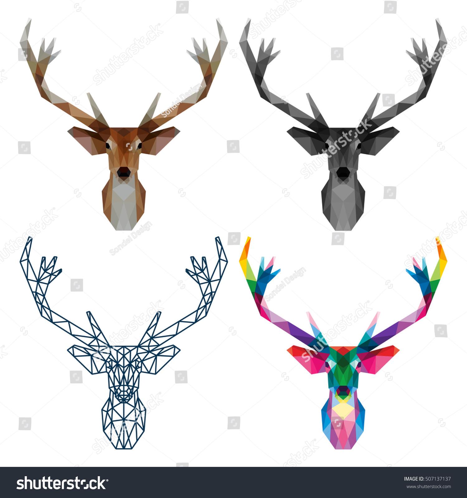 Polygonal Triangle Reindeer Head Polygon Logo Stock Vector Royalty