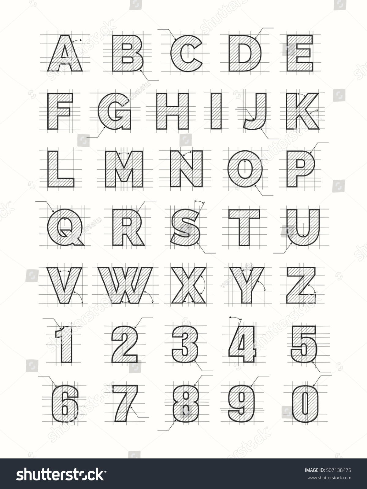 Drafting Paper Alphabet Vector Drawing Sketch Font Letters