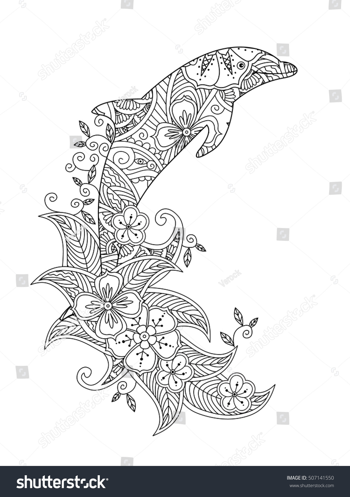 Coloring Page Ornate Jumping Dolphin On Stock Vector 507141550 ...