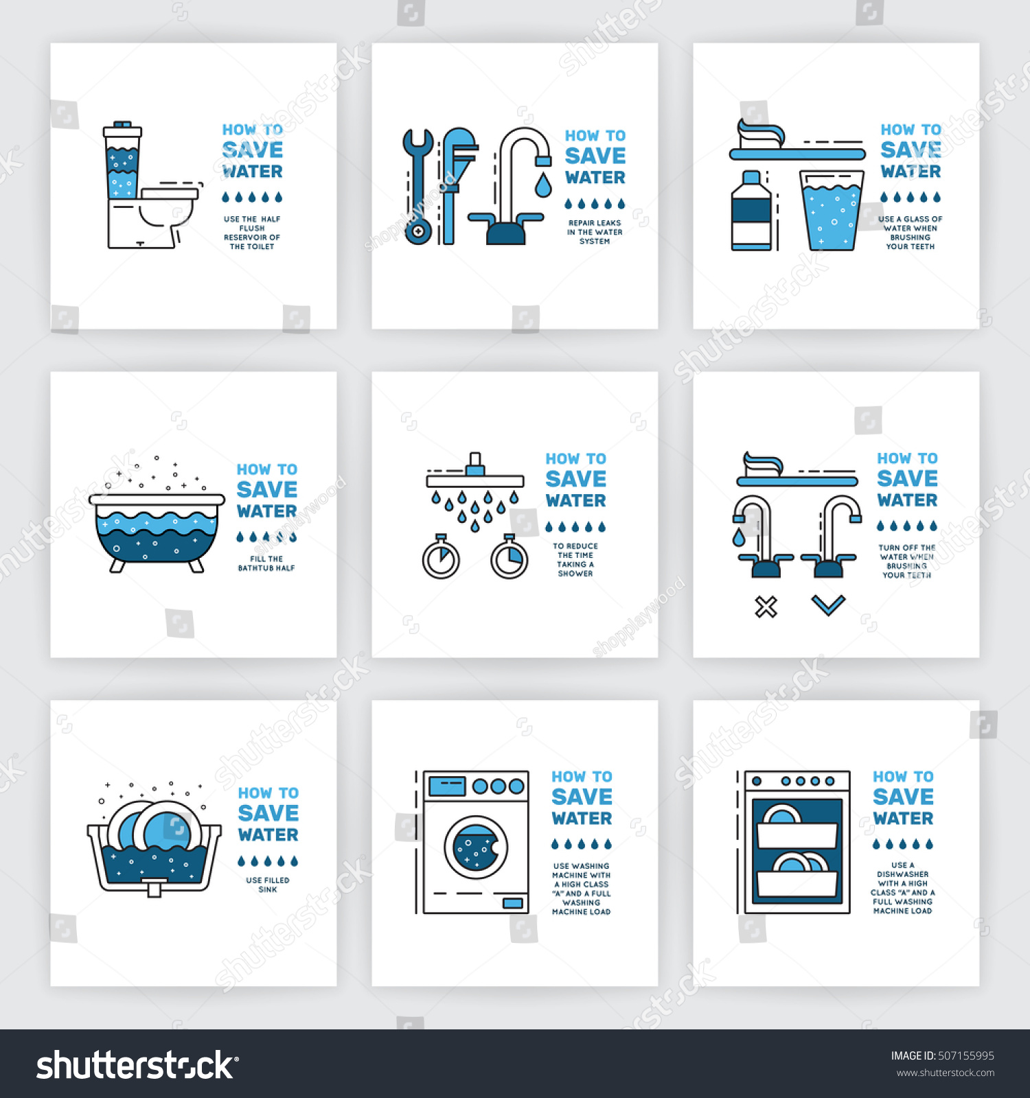 Illustration with tips on saving water consumption by man in a house - Illustration Tips On Saving Water Consumption Stock Vector